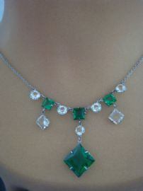Art Deco Necklace - 1920s Green and White Crystal Necklace (Sold)